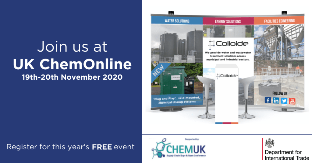 UK ChemOnline, ChemOnline, Chemicals, Chemical dosing, dosing kiosk, dosing pumps, water treatment, water solutions, colloide, colloide engineering, department for international trade,